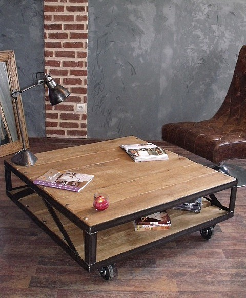 meuble industriel l 39 esprit loft vos mesures table basse carr e style industriel en bois. Black Bedroom Furniture Sets. Home Design Ideas